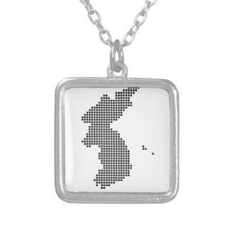 Pixel Korea Map Square Pendant Necklace