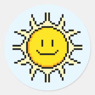 Pixel lindo Sun Etiqueta Redonda
