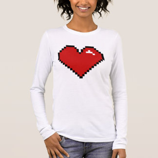Pixel Love Red Large Long Sleeve T-Shirt