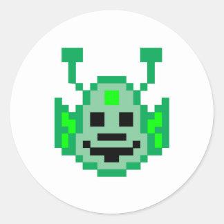 Pixel Martian Alien Round Stickers