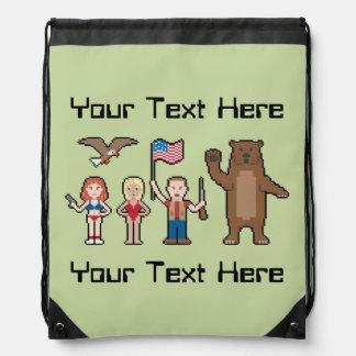 Pixel 'Merica Custom Drawstring Bag