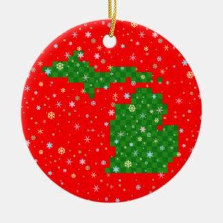 Pixel Michigan and Pastel Snowflakes Ceramic Ornament