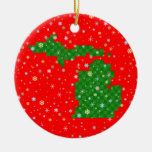 Pixel Michigan and Pastel Snowflakes Double-Sided Ceramic Round Christmas Ornament