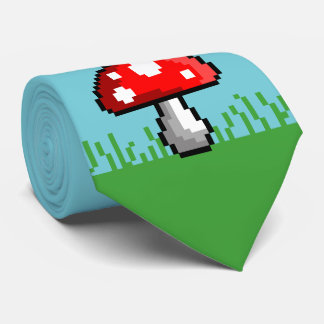 Pixel Mushroom Meadow Tie
