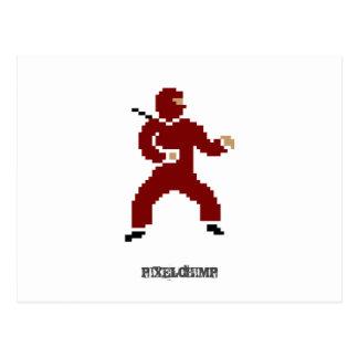 Pixel Ninja Red Postcard
