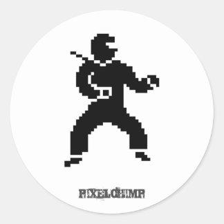 Pixel Ninja Side Classic Round Sticker