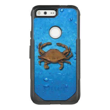 nautical_gifts Pixel OtterBox Nautical Copper Crab on Bubbles OtterBox Commuter Google Pixel Case