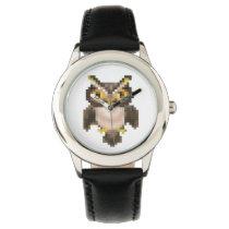 Pixel owl wristwatch