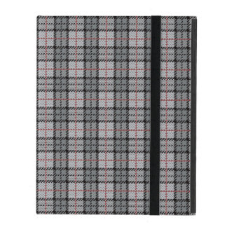 Pixel Plaid in Grey with Red Stripe iPad Folio Case