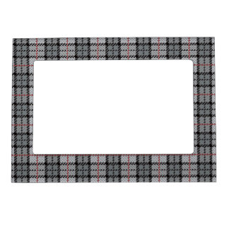 Pixel Plaid in Grey with Red Stripe Magnetic Picture Frame
