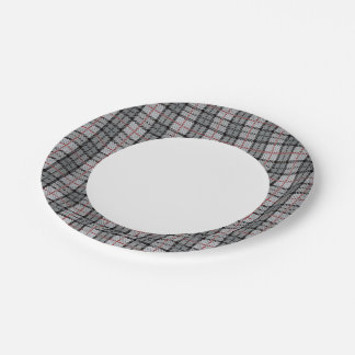 Pixel Plaid in Grey with Red Stripe Paper Plate