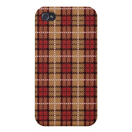 Pixel Plaid in Red and Gold Case For iPhone 4