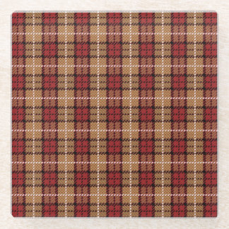 Pixel Plaid in Red and Gold Glass Coaster