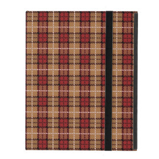 Pixel Plaid in Red and Gold iPad Cover