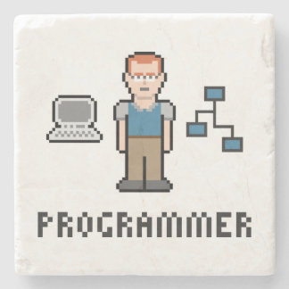 Pixel Programmer Marble Stone Coaster