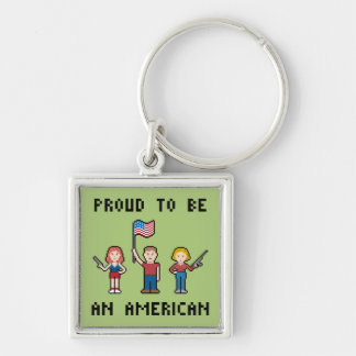 Pixel Proud American Silver-Colored Square Keychain
