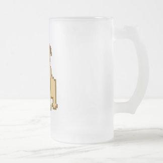 Pixel Pug Frosted Glass Beer Mug