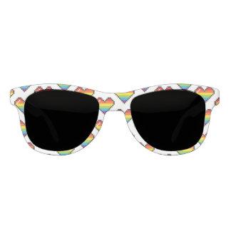 Pixel Rainbow Hearts LGBT Pride Sunglasses