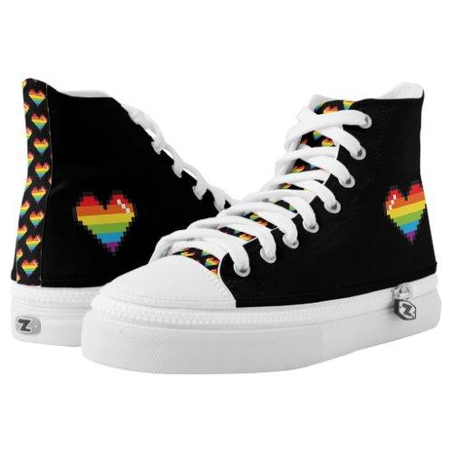 Pixel Rainbow LGBT Pride High_Top Sneakers