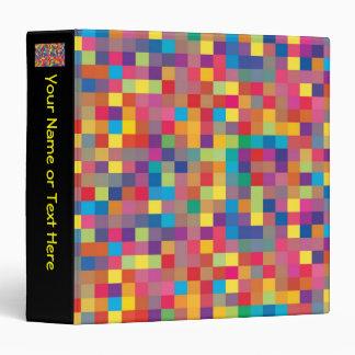 Pixel Rainbow Square Pattern 3 Ring Binder