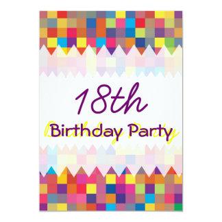 "Pixel Rainbow Square Pattern Birthday 5"" X 7"" Invitation Card"