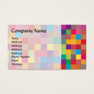 Pixel Rainbow Square Pattern Business Card