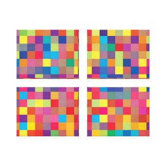 Pixel Rainbow Square Pattern Canvas Print