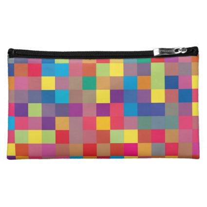 Pixel Rainbow Square Pattern Cosmetics Bags