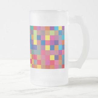 Pixel Rainbow Square Pattern Glass Mug