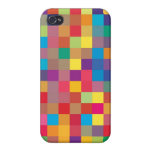 Pixel Rainbow Square Pattern iPhone 4/4S Cases