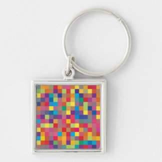 Pixel Rainbow Square Pattern Keychain