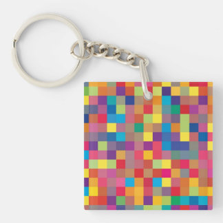 Pixel Rainbow Square Pattern Acrylic Keychains