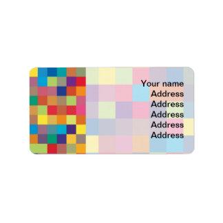 Pixel Rainbow Square Pattern Label