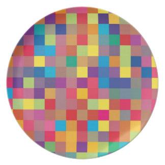 Pixel Rainbow Square Pattern Melamine Plate