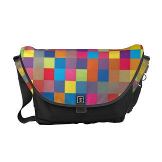 Pixel Rainbow Square Pattern Messenger Bags