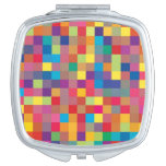 Pixel Rainbow Square Pattern Mirror For Makeup