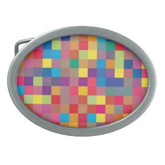 Pixel Rainbow Square Pattern Oval Belt Buckle