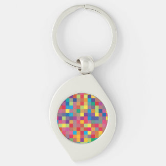 Pixel Rainbow Square Pattern Key Chains