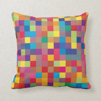 Pixel Rainbow Square Pattern Throw Pillow