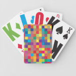Pixel Rainbow Square Pattern Poker Cards