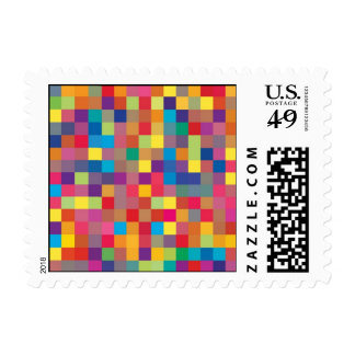 Pixel Rainbow Square Pattern Postage Stamp