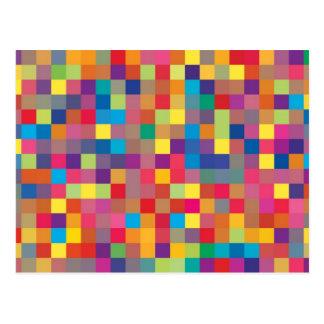 Pixel Rainbow Square Pattern Postcard