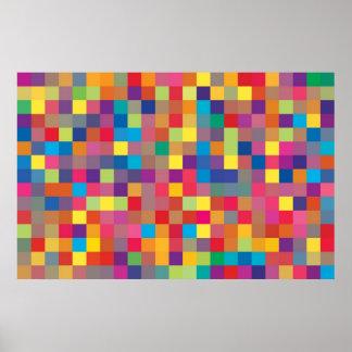 Pixel Rainbow Square Pattern Poster
