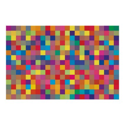 Pixel Rainbow Square Pattern Poster