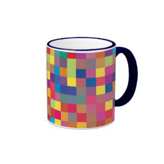 Pixel Rainbow Square Pattern Ringer Mug