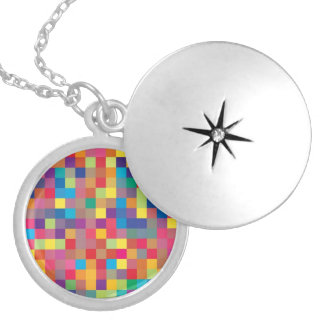 Pixel Rainbow Square Pattern Round Locket Necklace