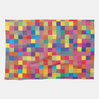 Pixel Rainbow Square Pattern Towels