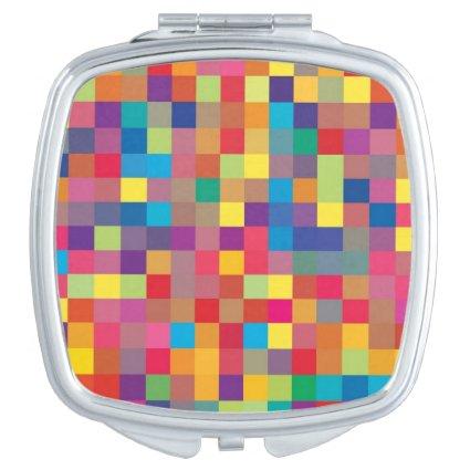 Pixel Rainbow Square Pattern Vanity Mirrors