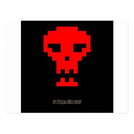 Pixel_Red_Skull Tarjetas Postales