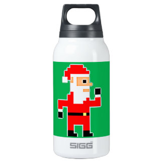 Pixel Santa Clause Thermos Water Bottle
